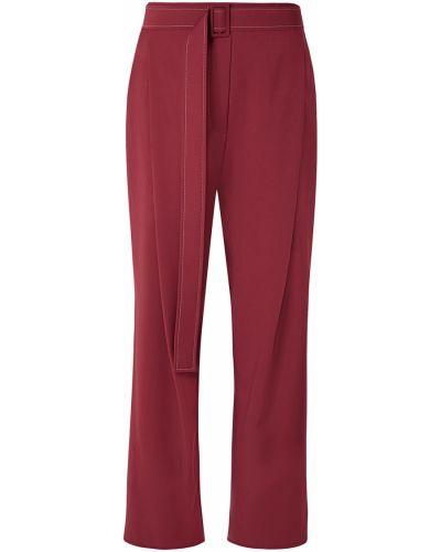 Czerwone spodnie wełniane z paskiem Ellery
