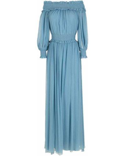 Открытое шелковое синее платье НК
