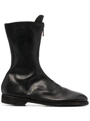 Czarne ankle boots skorzane na niskim obcasie Guidi