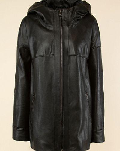 Черная кожаная куртка с капюшоном каляев
