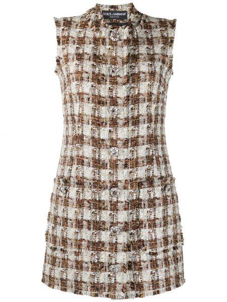 Шерстяное бежевое платье без рукавов Dolce & Gabbana