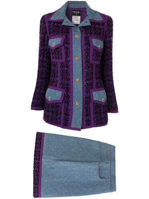 Фиолетовый нейлоновый классический вязаный юбочный костюм Chanel Pre-owned
