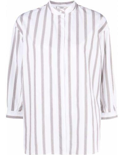 Хлопковая белая рубашка в полоску Peserico