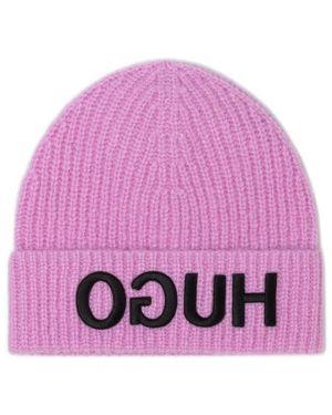 Różowa czapka wełniana Hugo