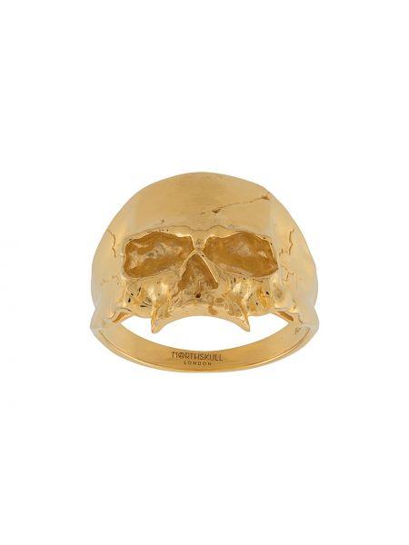 Золотистое кольцо золотое с черепами Northskull