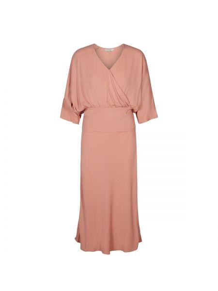 Расклешенное розовое платье макси на молнии с рукавом 3/4 NÜmph
