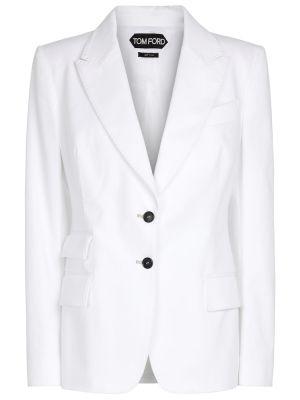 Хлопковый белый пиджак стрейч Tom Ford