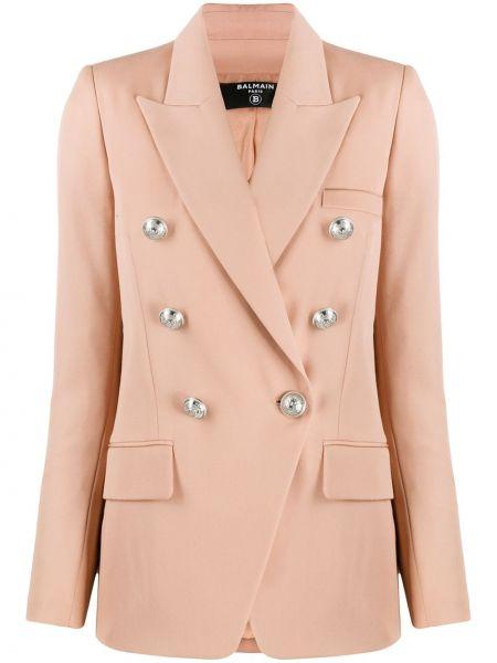 Шерстяной пиджак с карманами на пуговицах двубортный Balmain