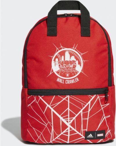 Красный мягкий рюкзак на молнии Adidas