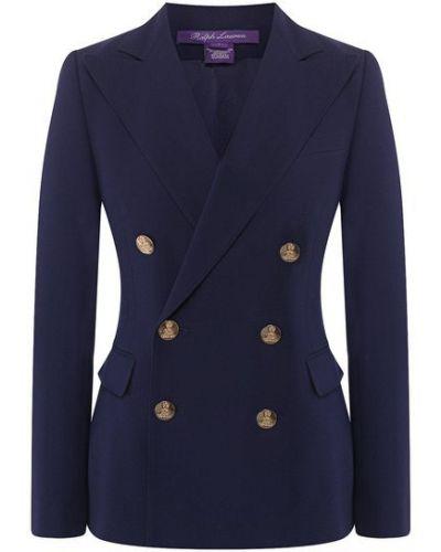 Шелковый синий приталенный пиджак с подкладкой Ralph Lauren