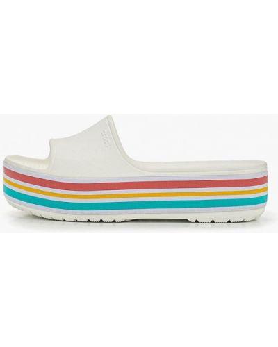 Сабо белые на каблуке Crocs