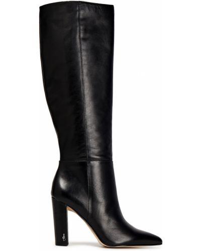Черные сапоги на шпильке на каблуке из натуральной кожи Sam Edelman