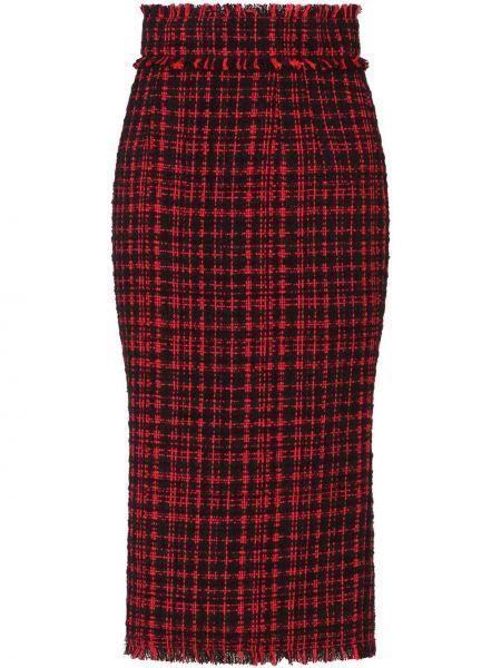 Красная с завышенной талией юбка карандаш в клетку Dolce & Gabbana