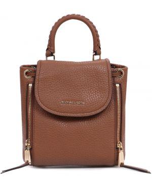 Кожаный рюкзак на молнии золотой Michael Kors