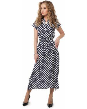 Деловое платье в горошек на пуговицах Dizzyway