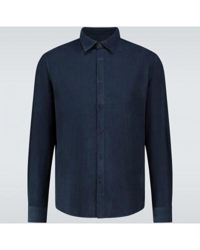 Темно-синяя классическая рубашка с воротником вельветовая стрейч Sunspel