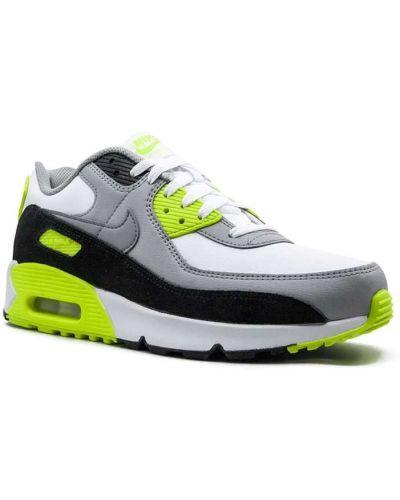 Biały koronkowa skórzane sneakersy na sznurowadłach okrągły nos Nike