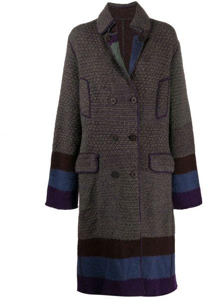 Фиолетовое шерстяное длинное пальто на пуговицах с лацканами Missoni Pre-owned