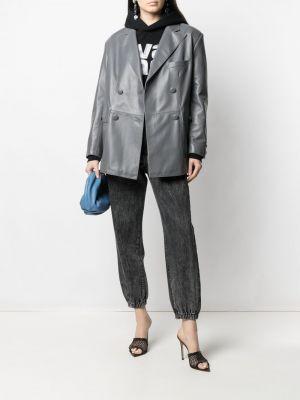 Серый кожаный удлиненный пиджак двубортный Manokhi