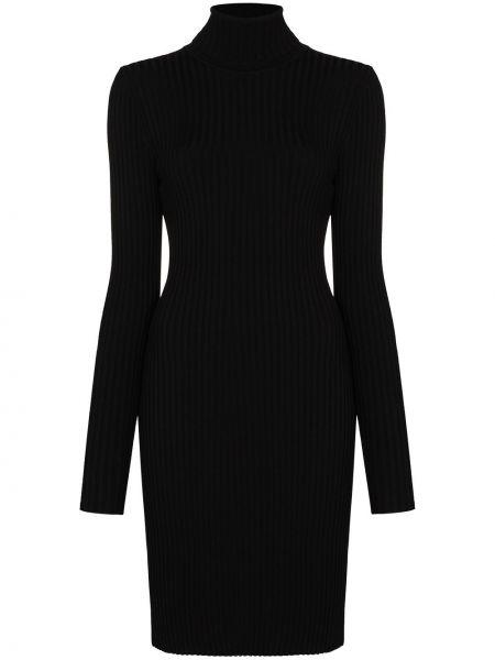 Шерстяное черное платье мини в рубчик с воротником Wolford