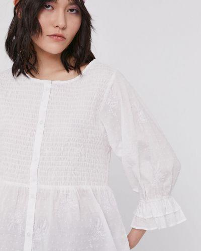 Biała bluzka z falbanami bawełniana Medicine