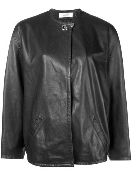 Черная кожаная куртка с потайной застежкой Chalayan