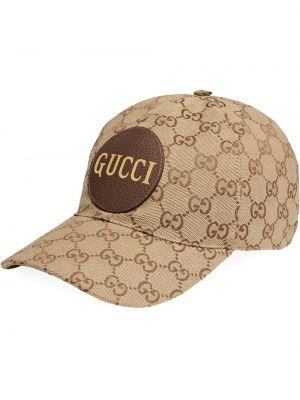 Czerwona czapka skórzana Gucci