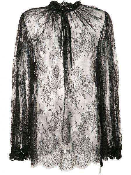 Хлопковая черная кружевная блузка Alexander Mcqueen