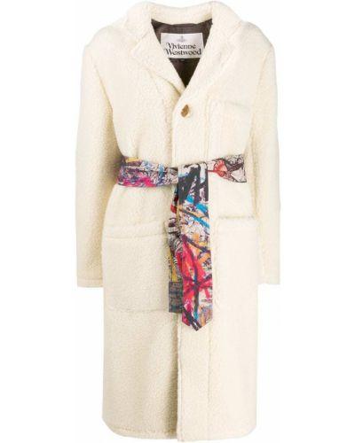Шерстяное белое длинное пальто с воротником Vivienne Westwood Anglomania