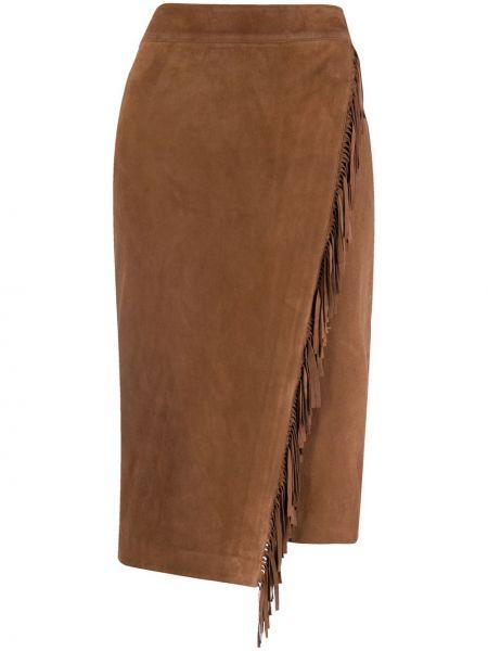 Asymetryczny skórzany brązowy spódnica ołówkowa frędzlami Veronica Beard