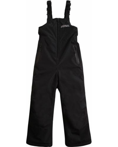 Флисовый черный полукомбинезон с карманами Diesel Kids