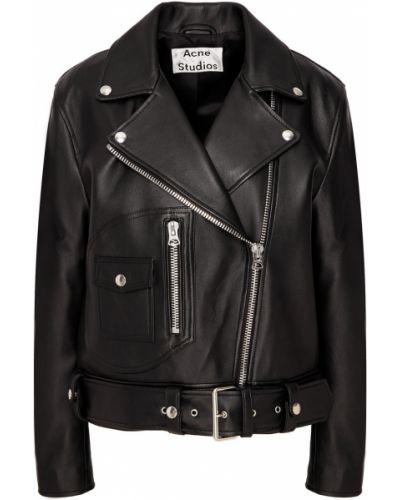 Кожаная куртка байкерская на молнии Acne Studios