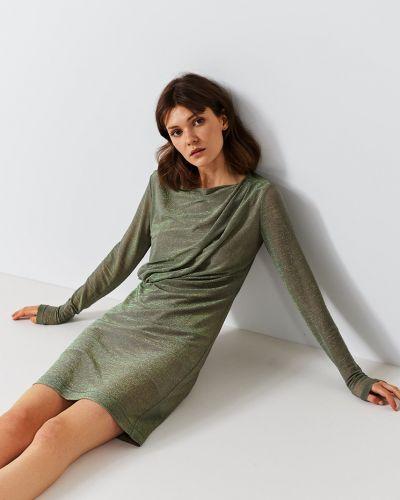Платье мини с длинными рукавами со складками Simple