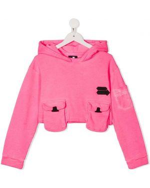 С рукавами хлопковый розовый топ с карманами Cinzia Araia Kids