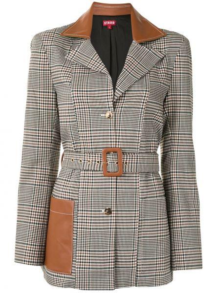 Коричневый приталенный удлиненный пиджак в клетку Staud