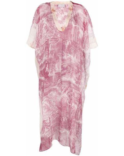 Фиолетовое шелковое платье мини с короткими рукавами Pierre-louis Mascia