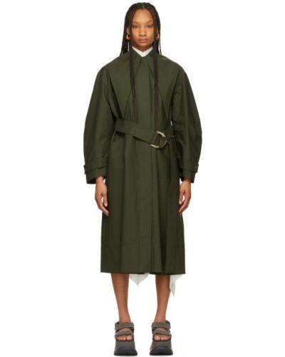 Зеленое длинное пальто с воротником с карманами Jw Anderson