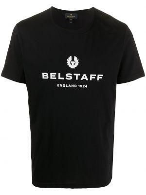 Czarny bawełna bawełna z rękawami koszula krótkie z krótkim rękawem Belstaff