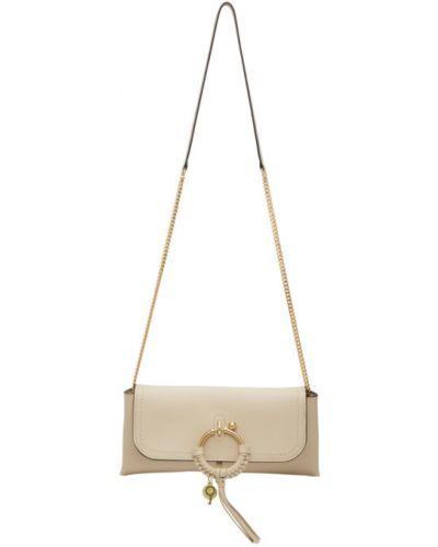 Włókienniczy biały z paskiem torba kosmetyczna See By Chloe