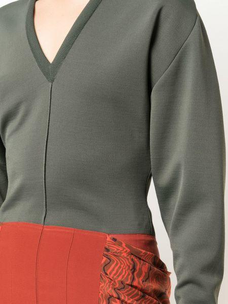 Шелковое зеленое платье макси с оборками Chloé