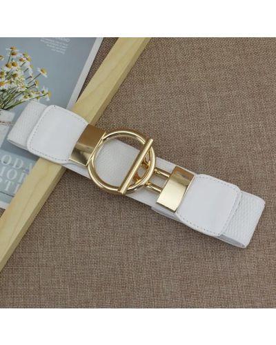 Белый кожаный широкий ремень с пряжкой Oxa
