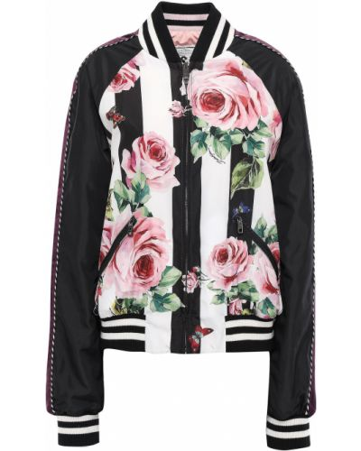 Czarna kurtka bomber pikowana wełniana Dolce And Gabbana