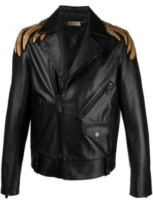 Czarna długa kurtka skórzana z haftem Philipp Plein