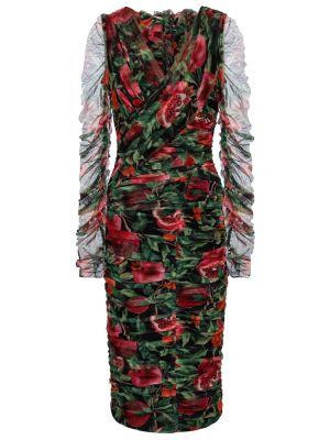 Хлопковое черное платье миди с оборками Dolce & Gabbana