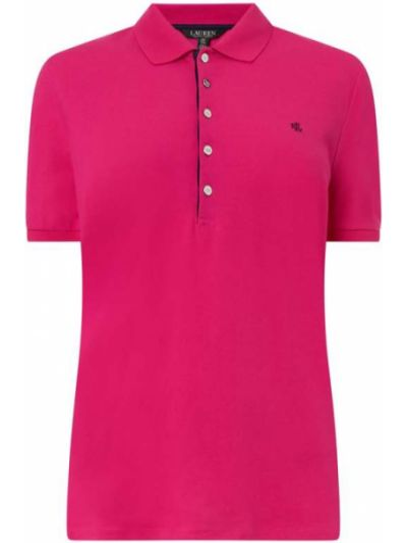 T-shirt bawełniana - różowa Lauren Ralph Lauren Curve