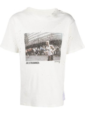 Biały t-shirt bawełniany z printem Satisfy