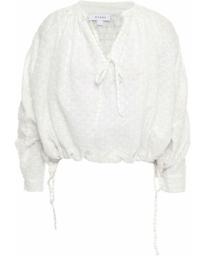 Biała bluzka bawełniana zapinane na guziki Rhode