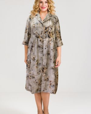 Платье на пуговицах с цветочным принтом Luxury