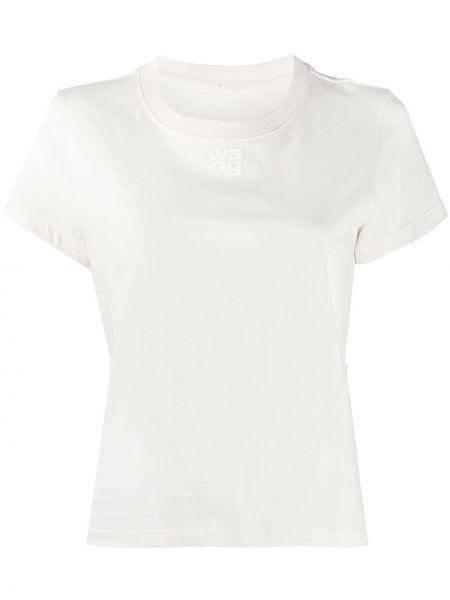 Хлопковая белая футболка с круглым вырезом с короткими рукавами T By Alexander Wang
