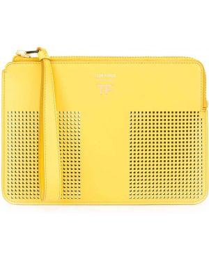 Кожаная желтая кожаная сумка с перфорацией на молнии Tom Ford
